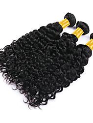 Недорогие -3 Связки Индийские волосы Волнистые Необработанные натуральные волосы 150 g Человека ткет Волосы Пучок волос Накладки из натуральных волос 8-28 дюймовый Естественный цвет Ткет человеческих волос