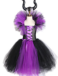 cheap -Maleficent Evil Queen Girls Tutu Dress with Horns Halloween Cosplay Witch Costume