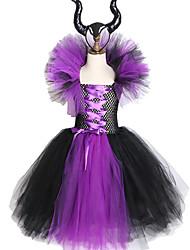 abordables -maléfique reine maléfique filles robe tutu avec cornes halloween cosplay costume de sorcière