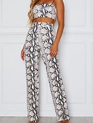 cheap -Women's Sexy Loose Pants - Snakeskin High Waist Blue Dark Gray Light gray L XL XXL