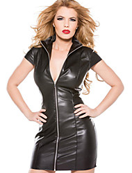 cheap -Women's Female Women Fifty Shades Adults Adults' Basic Gothic Dress Party Dress Sexy Costumes Solid Color Leather Dress / Ladies / Spandex / Faux Leather