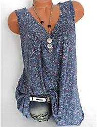 cheap -Women's Plus Size Shirt - Floral Print V Neck Black