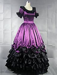 abordables -Rétro Vintage Princesse Rococo Robe Costume de Cosplay Femme Japonais Costumes de Cosplay Violet / Jaune / Rouge Mosaïque Manches Courtes Maxi Long / Victorienne