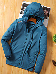 cheap -Men's Hiking Shirt / Button Down Shirts Hiking Skin Jacket Outdoor Waterproof Windproof Sunscreen UV Resistant Hoodie Shirt Top Single Slider Camping / Hiking / Caving Traveling Dark Grey / White