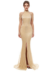 cheap -Mermaid / Trumpet High Neck Court Train Tulle Elegant & Luxurious / Sparkle & Shine Formal Evening Dress 2020 with Beading / Sequin / Crystals