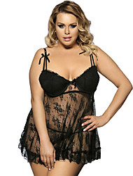 cheap -Plus Size Polyester Bras & Panties Sets Sexy Solid Colored Wedding Lace