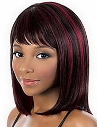 cheap -Synthetic Wig Bangs kinky Straight Bob Wig Burgundy Medium Length Black / Burgundy Synthetic Hair 14 inch Women's Fashionable Design Smooth Classic Burgundy