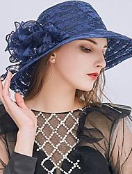 Недорогие -Жен. Kentucky Derby Симпатичные Стиль Шляпа от солнца Кружева,Однотонный Серый Винный Хаки