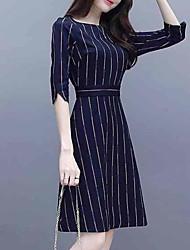 cheap -Women's Sophisticated Elegant Sheath Dress - Geometric Color Block Blue XL XXL XXXL