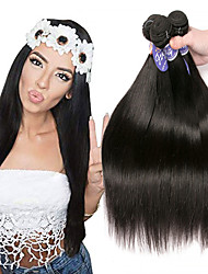 cheap -3 Bundles Indian Hair Straight Remy Human Hair Unprocessed Human Hair Natural Color Hair Weaves / Hair Bulk Extension Bundle Hair 8-28 inch Natural Human Hair Weaves Easy dressing Sexy Lady Best