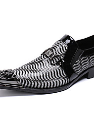 cheap -Men's Novelty Shoes Nappa Leather Spring / Fall & Winter Casual / British Loafers & Slip-Ons Non-slipping Gradient Black / Wedding / Party & Evening / Wedding / Party & Evening / Dress Shoes
