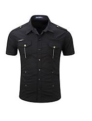cheap -Men's EU / US Size Shirt - Solid Colored Black / Short Sleeve