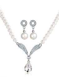 cheap -Women's Crystal Drop Earrings Pendant Necklace Retro Pear Classic European Elegant Imitation Pearl Earrings Jewelry Silver For Party Engagement Ceremony Festival 3pcs