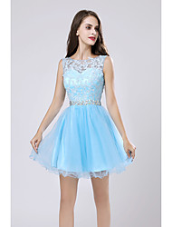 cheap -A-Line Hot Blue Graduation Cocktail Party Dress Illusion Neck Sleeveless Short / Mini Lace Tulle with Crystals Appliques 2020