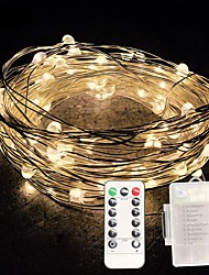 cheap -10m String Lights 100 LEDs SMD 0603 1 13Keys Remote Controller Warm White / White / Multi Color Waterproof / Creative / Cuttable AA Batteries Powered 1pc