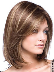 cheap -Synthetic Wig Bangs kinky Straight Side Part Wig Medium Length Brown / Burgundy Synthetic Hair 14 inch Women's Fashionable Design Smooth Women Brown / Ombre Hair