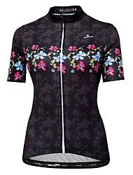 Недорогие -Malciklo Жен. С короткими рукавами Велокофты Черный Цветочные ботанический Велоспорт Джерси Верхняя часть Горные велосипеды Шоссейные велосипеды Дышащий Быстровысыхающий Анатомический дизайн