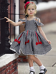 cheap -Kids Girls' Active Cute Houndstooth Jacquard Backless Bow Pleated Short Sleeve Knee-length Dress Black / Cotton / Lace up