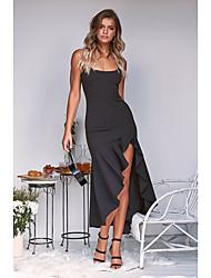 cheap -Women's Date Street Street chic Elegant Sheath Dress - Solid Colored Cut Out Split Black White Blushing Pink S M L XL
