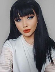cheap -Human Hair Wig Long kinky Straight Natural Straight Layered Haircut Middle Part Black Natural Black Waterfall Life Silky Capless Women's Natural Black 24 inch / Natural Hairline / Natural Hairline