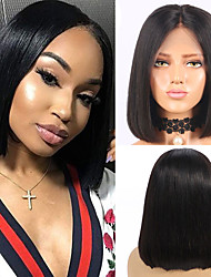cheap -Human Hair Wig Short Straight Bob Party Women Best Quality Lace Front Brazilian Hair Women's Black#1B 8 inch 10 inch 12 inch