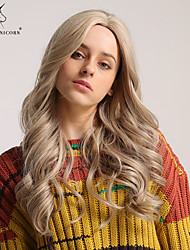cheap -Synthetic Wig Curly Bouncy Curl Asymmetrical Middle Part Wig Blonde Long Light golden Synthetic Hair 24 inch Women's Fashionable Design Synthetic Natural Hairline Blonde BLONDE UNICORN