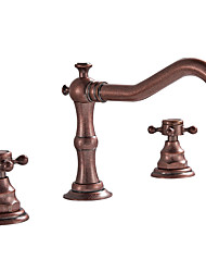 cheap -Bathroom Sink Faucet - Widespread Bronze Deck Mounted Two Handles Three HolesBath Taps