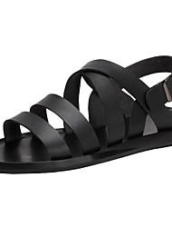 cheap -Men's Comfort Shoes Leather Summer Sandals Black / White / Outdoor