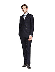 cheap -Custom Suits Dark Grey Checkered Standard Fit Wool Suit - Peak Double Breasted Six-buttons