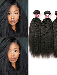 cheap -3 Bundles Hair Weaves Malaysian Hair Yaki Straight Human Hair Extensions Remy Human Hair 100% Remy Hair Weave Bundles 300 g Natural Color Hair Weaves / Hair Bulk Human Hair Extensions 8-28 inch