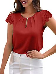 cheap -Women's Chic & Modern Loose Blouse - Solid Colored Lace Black