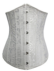 cheap -Women's Hook & Eye Underbust Corset - Jacquard, Jacquard White Black XS S M
