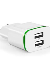 Недорогие -Портативное зарядное устройство Зарядное устройство USB Евро стандарт Несколько разъемов 2 USB порта 2.1 A 100~240 V для Универсальный