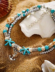 cheap -Women's Ankle Bracelet Tropical Star Starfish Anchor Trendy Casual / Sporty Fashion Cute Anklet Jewelry Turquoise For Daily Carnival Street