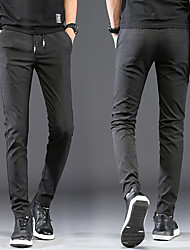 cheap -Men's Basic Chinos Pants Solid Colored Full Length Classic Black Blue Gray
