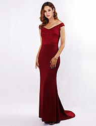 cheap -Mermaid / Trumpet V Neck Sweep / Brush Train Chiffon Bridesmaid Dress with Lace
