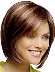cheap -Synthetic Wig Bangs kinky Straight Side Part Wig Blonde Short Blonde / Purple Synthetic Hair 12 inch Women's Fashionable Design Smooth Classic Blonde