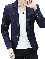 abordables -Homme Blazer Revers Cranté Polyester Noir / Bleu Marine / Violet / Mince
