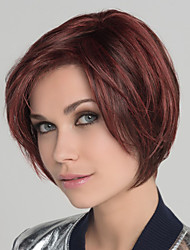 cheap -Synthetic Wig Bangs Straight Natural Straight Bob Side Part Wig Burgundy Short Dark Wine Synthetic Hair 12 inch Women's Synthetic Fashion Comfortable Burgundy / African American Wig
