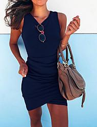 cheap -Women's Basic Asymmetrical Slim Bodycon Dress - Solid Colored V Neck Black Fuchsia Blue S M L XL