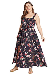 cheap -Women's Elegant Maxi Swing Dress - Floral Split Strap Black Yellow XL XXL XXXL XXXXL