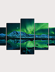cheap -Print Rolled Canvas Prints - Abstract Landscape Classic Modern Five Panels Art Prints