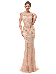 cheap -Mermaid / Trumpet High Neck Sweep / Brush Train Tulle Elegant & Luxurious Formal Evening Dress 2020 with Beading / Sequin / Crystals