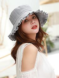 cheap -Women's Active Basic Cute Cotton Sun Hat-Striped Spring Summer Beige Light Brown Light gray