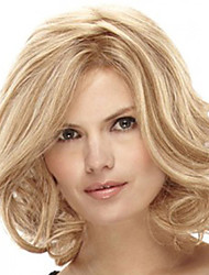cheap -Synthetic Wig Curly Side Part Wig Blonde Medium Length Light golden Synthetic Hair 16 inch Women's Fashionable Design Women Synthetic Blonde