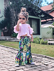 cheap -Kids Toddler Girls' Active Basic Floral Plaid Bow Ruffle Print Half Sleeve Cotton Clothing Set Blushing Pink