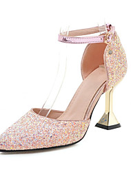 cheap -Women's Synthetics Spring & Summer Wedding Shoes Flared Heel Pointed Toe Rhinestone / Sequin Silver / Pink / Party & Evening