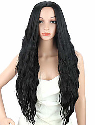 cheap -Cosplay Wig Loose Wave Water Wave Side Part Wig Long Black#1B Synthetic Hair 24 inch Women's Party Synthetic Easy dressing Black