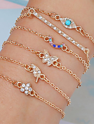 cheap -6pcs Women's Vintage Bracelet Earrings / Bracelet Layered Leaf Flower Butterfly Simple Vintage Fashion Cute Colorful Alloy Bracelet Jewelry Gold For Daily School Street Holiday Festival