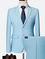 cheap -Men's Plus Size Suits Notch Lapel Polyester Wine / Light Blue / Royal Blue / Slim